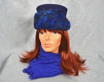 Blue Wool and Feather Pillbox Hat - Union Made by Neumann-Endler/Poppy New York