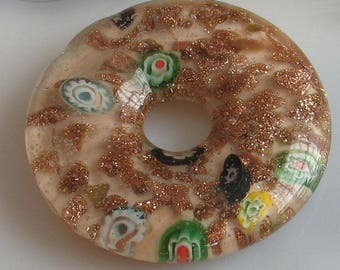 Large Copper Millefiore Glass  Donut  Focal Bead 40mm