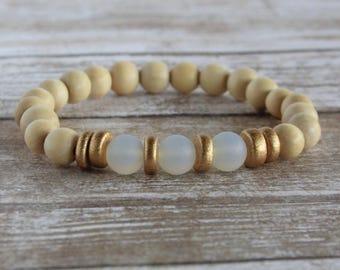 Moonstone Sea Glass Wooden Bead Stacker Bracelet | Boho Bracelet | Bead Bracelet | Women's Bracelet | Gifts for her | Wood Bracelet