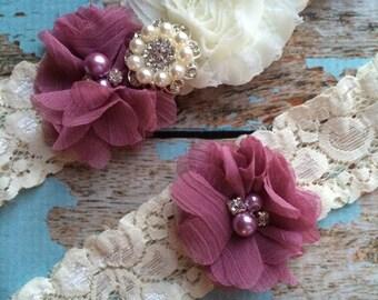dumb pink flower  / IVORY  chiffon / wedding garter set / bridal  garter/  lace garter / toss garter included /  wedding garter