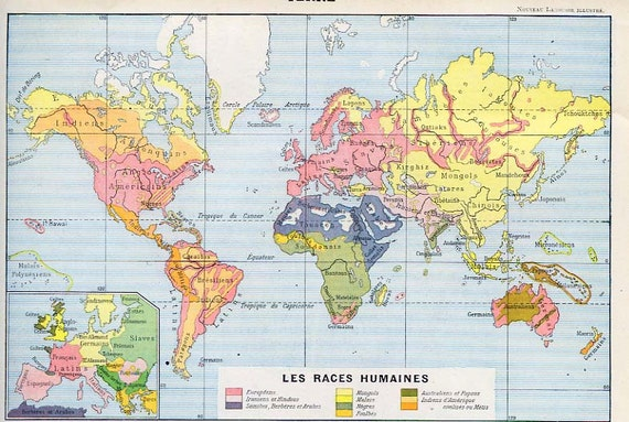 Print french map race distribution of the world 1902 like this item gumiabroncs Gallery