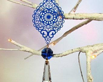 Prism Suncatcher, Christmas Ornament, Sapphire Blue, Crystal Teardrop, 1S-59