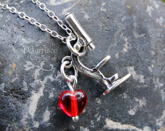 Microscope necklace - sterling silver charm & red heart - science teachers, lab techs, and microbiolgists - she blinded me with science