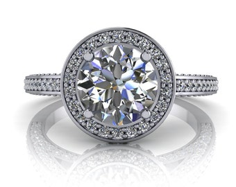 Halo Moissanite Engagement Ring Forever One - Halo of Love