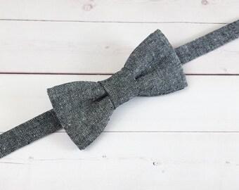 Linen Bow Tie, Toddler Bow Tie, Baby Bow Tie, Grey Bow Tie, Boys Bow Tie, Wedding Tie, Photo Accessory, Kids Tie, Ring Bearer, Bowtie, Suit