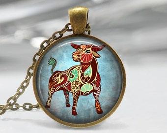 Taurus Zodiac Glass Pendant -Taurus Zodiac Jewelry -Zodiac Necklace - Art Pendant -Zodiac Necklace -Zodiac Charm,Astrology Pendant