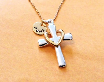 Cross necklace, Cross, jewelry, jewellery, gold, necklace, sister, gift, mother, grandma, grandmother, mom
