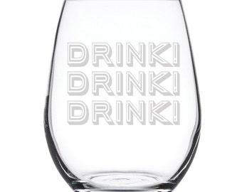 Stemless White Wine Glass-17 oz.-7829 Drink! Drink! Drink!