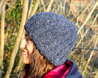 navy blue hand knit hat, spring hat, knit beanie, knit hat, navy beanie, navy berets, spring hat, spring beanie