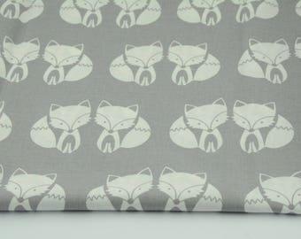 100% cotton fabric piece 160 x 50 cm, textile printing, cotton 100% Fox on grey background