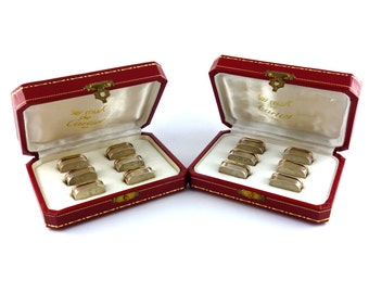 "CARTIER * Rare set of sterling silver and gold vermeil name holder iconic model ""TRINITY"""