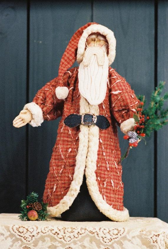 Tattered Santa - Mailed Cloth Doll Pattern Primitive Free Standing Santa