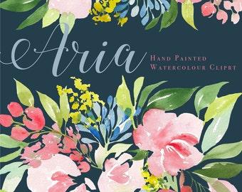 "Aria - Watercolor Floral Clip Art Pattern - Digital Paper - 10 x 7"" - Hand painted watercolour flowers"