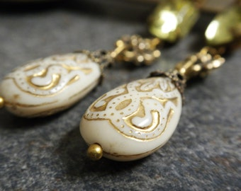 Ready to Ship Baroque Jewelry Holiday Fashion Earrings  Winter White and Gold