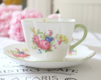 LARGE TEA CUP, Vintage, English, Fine Bone China Tea Cup and Saucer, Dainty Shape by Shelley - c. 1940 - 1962