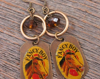 "Horse Themed Jewelry - Vintage Metal Tobacco Tags - ""Fancy Boy"" Brand - Horse Head with Coffee Crystal Beadwork Dangle Earrings"