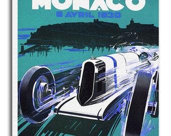 Monaco Race Car Art Canvas Travel Poster Print Hanging Wall Decor xr616