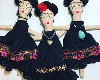 Frida Doll, Mexican Artist, Rosiedoll, Rag Doll, Dolly, Handmade Doll, Mexican, Black dress,