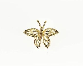 14k Diamond Cut Filigree Butterfly Charm/Pendant Gold