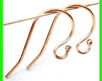 14k Yellow Gold Filled ball dot french hook Earring Wire fish Hook ear wire  GE01