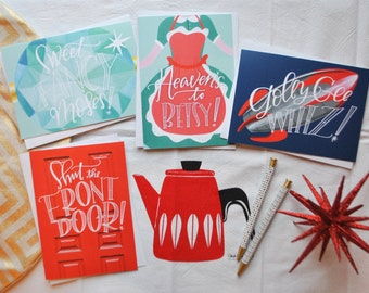 midcentury exclamatory! card set (FOUR) // midcentury modern greeting card set // retro greeting cards // 1950's greeting cards