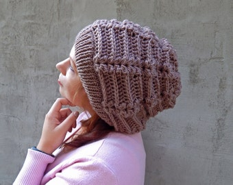 Knitted hat, women's knit hat, slouchy hat, knitted beanie, crochet hat, chunky hat, knitted beret, crochet beanie, winter hat, redwood hat