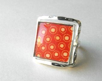 Glass Tile Ring ~ Modern Ring ~ Red Glass Tile Silvertone Metal Ring