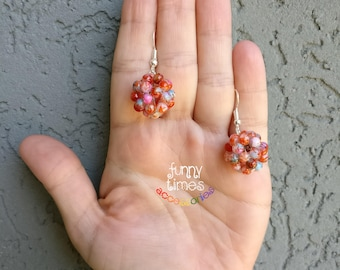 Iridescent apple and wine red/white hand made beaded round/sphere earrings sterling silver hook
