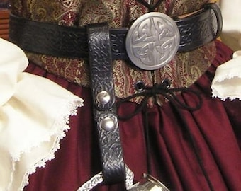 Celtic LEATHER BELT for Renaissance or Pirate Costume
