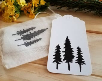 Tree Gift Tags   set of 10, gift wrapping, packaging