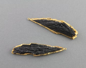 Large Freeform Raw Black Kyanite Pendant, Electroplated  with Gold Edges , Sold as 1 Piece, 22-34mm x 53-72mm  approx, (BZC9066/KYN)