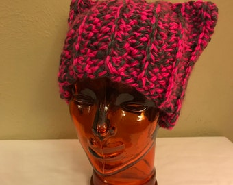 Cat Hat in Pink and Gray