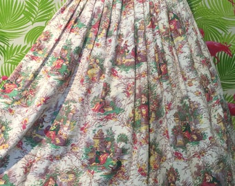 Vintage novelty print skirt with victorian scenes and cupids