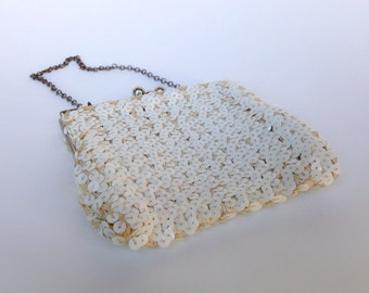 Vintage Sequin Clutch Off White Purse Silver Kisslocks Chain