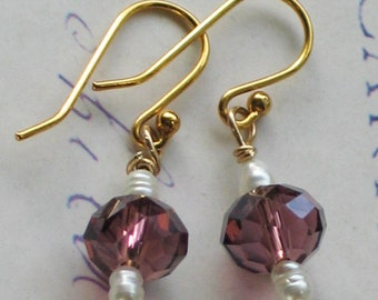 Romantic style purple glass and freshwater pearl earrings, Downton Abbey Inspired, gold