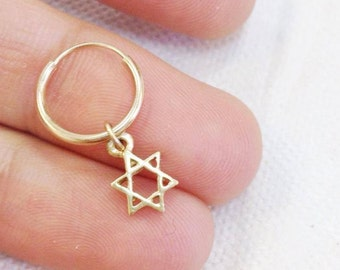 Carry Your Star of David. 14K Gold Star of David Earring. Recycled Gold. Eco Friendly. Gold Jewish Symbol Hoop Earring. Unisex Man or Woman.