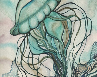 Green JELLYFISH 8.5 x 11 print of detailed watercolour artwork in deep rich aqua turquoise blue green colours with earth tones, sea nettle