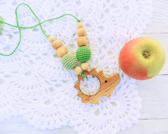 crochet necklace, breastfeeding sling necklace, babywearing jewelry, natural teething necklace for mom baby shower gift