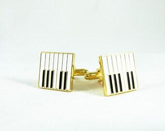 Mens Cufflinks,  Gold Plated Piano Keys  Mens Accessories Handmade