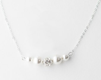 Pearl Necklace Bridesmaid,Pearl and Crystal Necklace sets,Pearl Bridesmaid Rhinestone Pearl Necklace Set For Bridesmaids