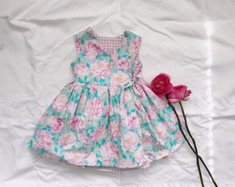 Double sided Peony + Pink Gingham Dress 3T