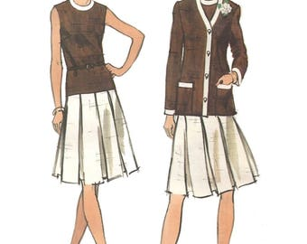 Vintage 70s Vogue 8266 Sewing Pattern Misses Sleeveless Drop Waist Dress and Vneck Jacket sz 18 Bust 40 Uncut