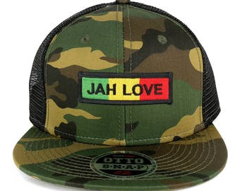 Jah Love Green Yellow Red Embroidered Patch Camo Flat Bill Snapback Mesh Cap (153-1120-AFRICA-33)
