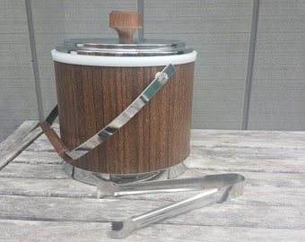 Kromex Faux Wood & Chrome Ice Bucket plus ice tongs // mid century modern bar ware // silver and brown