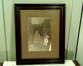 Child And Horse Original Vintage Photo Antique Wooden Frame Black White Photograph Sepia Farm Barn Country Animals Pets Cute Baby Picture