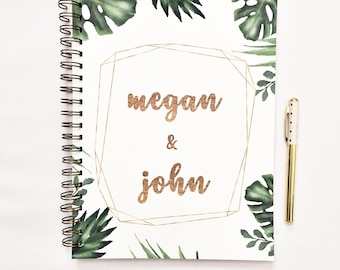 Custom Wedding Planner book, appointment book, wedding planning book, wedding binder, wedding checklist, engagement gift for her, palm leaf