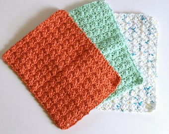 Springtime dishcloths, dishcloths, 100% cotton dishcloths, set of 3 dishcloths