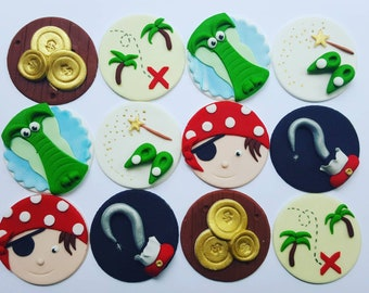 24 x  Fondant pirate tinker bell fairy neverland inspired Cupcake Toppers - pirate party handmade