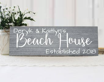 Personalized Family Name Beach House Sign, Beach Sign, Beach House Decor, Cottage Chic Beach Decor, Beach House Gift Idea