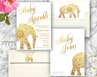 Indian themed  Baby Sprinkle Invitation // Bollywood // Elephant // Paisley // Gold // Mehndi // India // Henna // JAIPUR COLLECTION